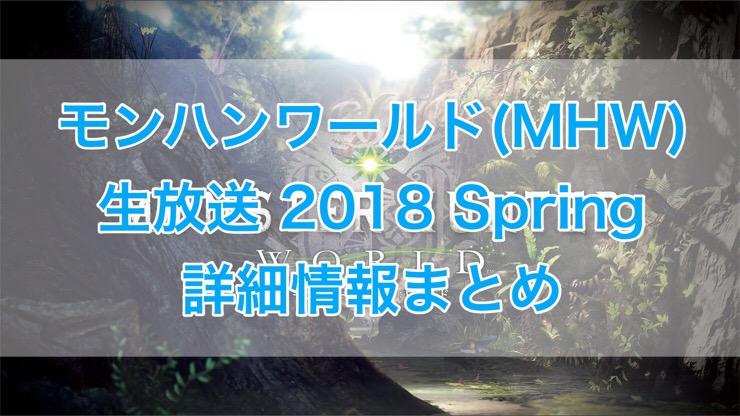 [C]モンハンワールド(MHW)スペシャル生放送 2018 Spring詳細情報まとめ