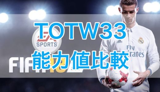 [C]FIFA18 FUT TOTW33(Team of the Week 33)能力値比較