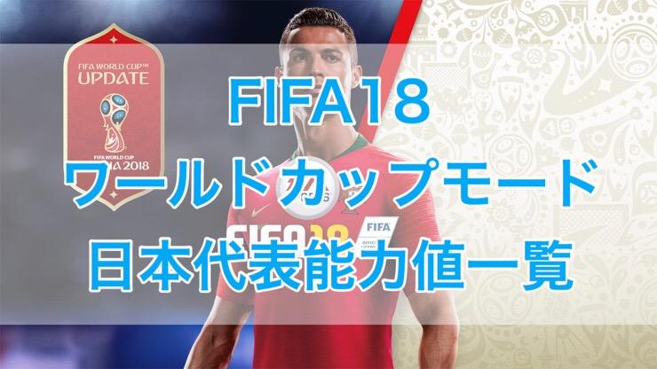[C]FIFA18 ワールドカップモード 日本代表能力値一覧