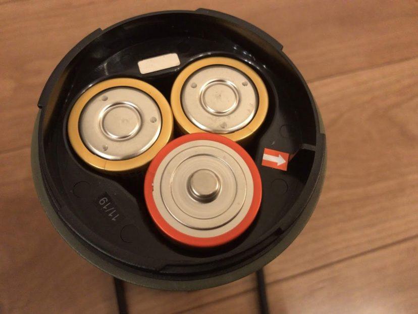 ジェントス EX-109Dの電源は単1電池が3本必要
