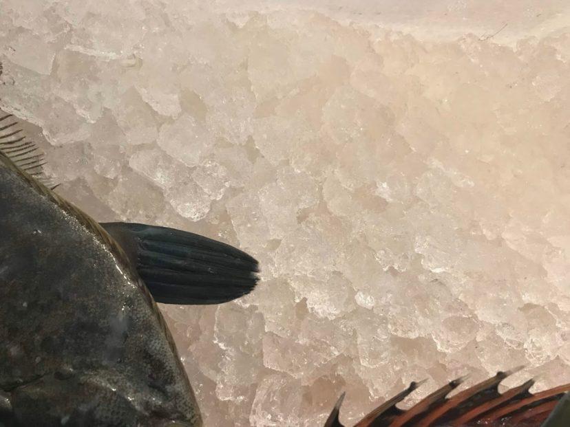 鮮度を保つために敷かれた氷